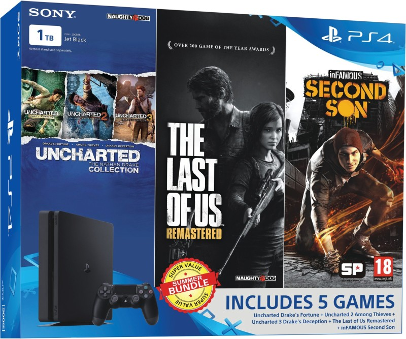 Sony PlayStation 4 (PS4) Slim 1 TB with Uncharted Collection, The Last of US Remastered and Infamous Second Son(Jet Black)