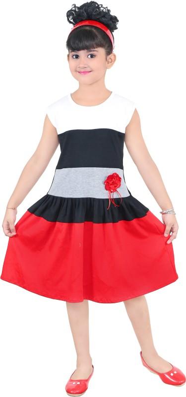 NIKUNJ Girls Midi/Knee Length Casual Dress(Multicolor, Sleeveless)