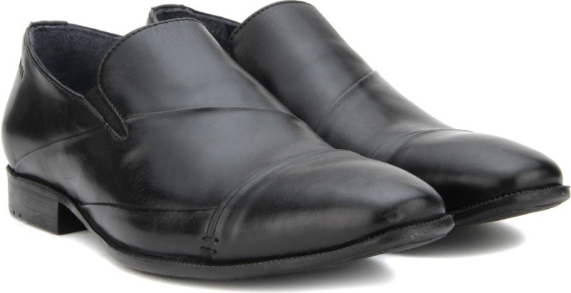 Woods Genuine Leather by Woodland Slip On Shoes For Men(Black)