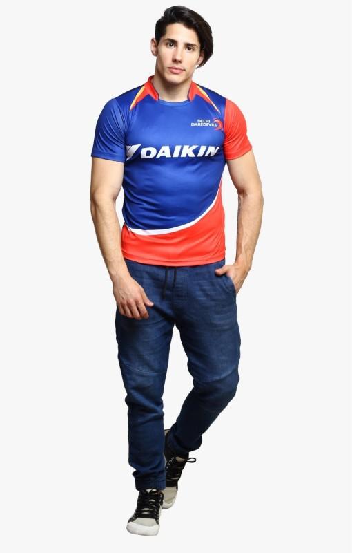 Delhi Daredevils Printed Men's V-neck Blue T-Shirt