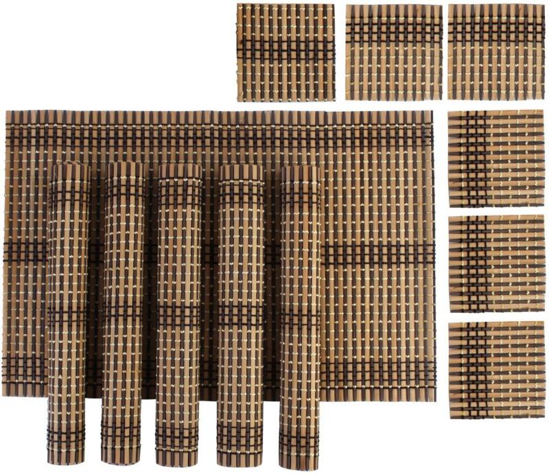Yun Hai Rectangular Pack of 6 Table Placemat(Multicolor, Natural Bamboo)