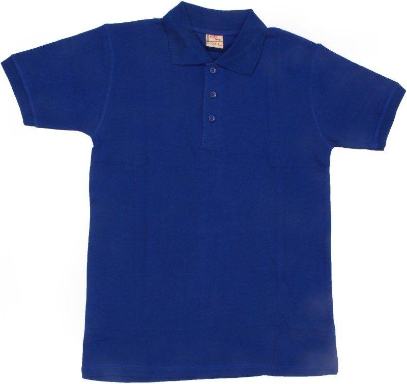 AACME Solid Men's Polo Neck Blue T-Shirt