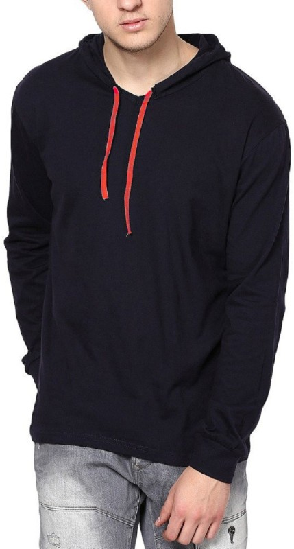 Icable Solid Men's Hooded Blue T-Shirt