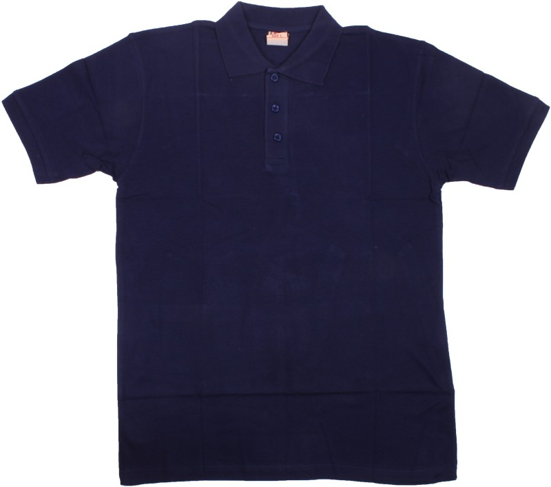 AACME Solid Men's Polo Neck Dark Blue T-Shirt