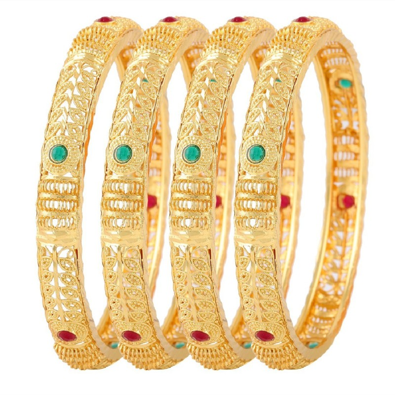 Jewels Galaxy Alloy Copper Bangle Set(Pack of 4)