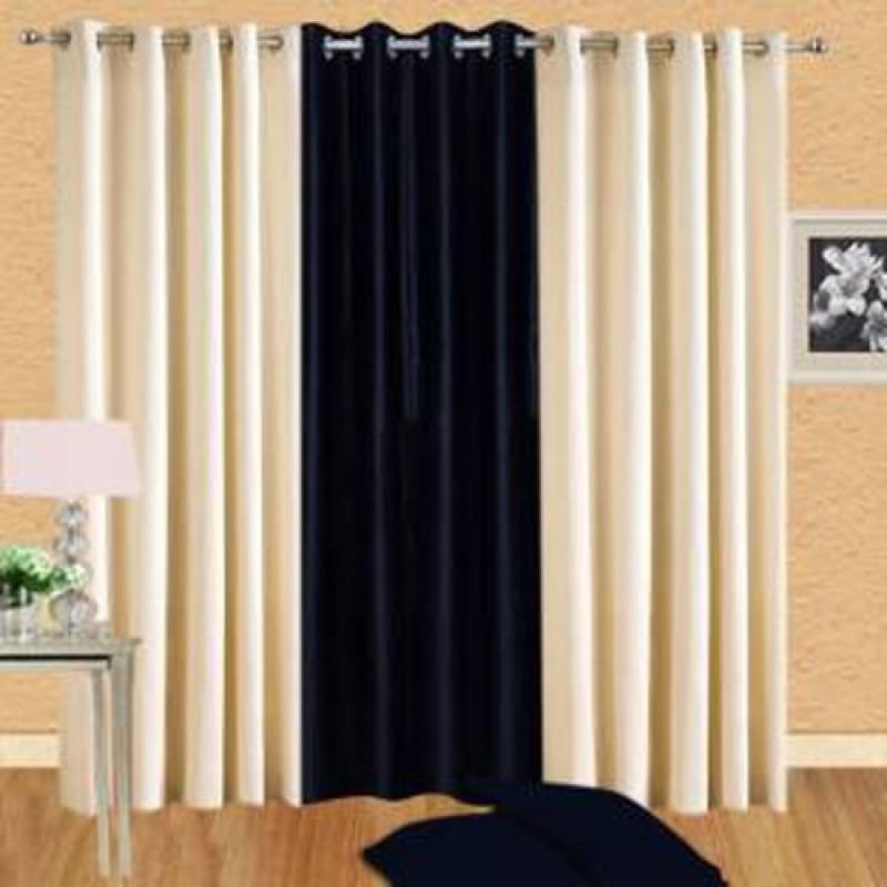 iDOLESHOP 274.5 cm (9 ft) Polyester Long Door Curtain (Pack Of 3)(Solid, Black, Beige)