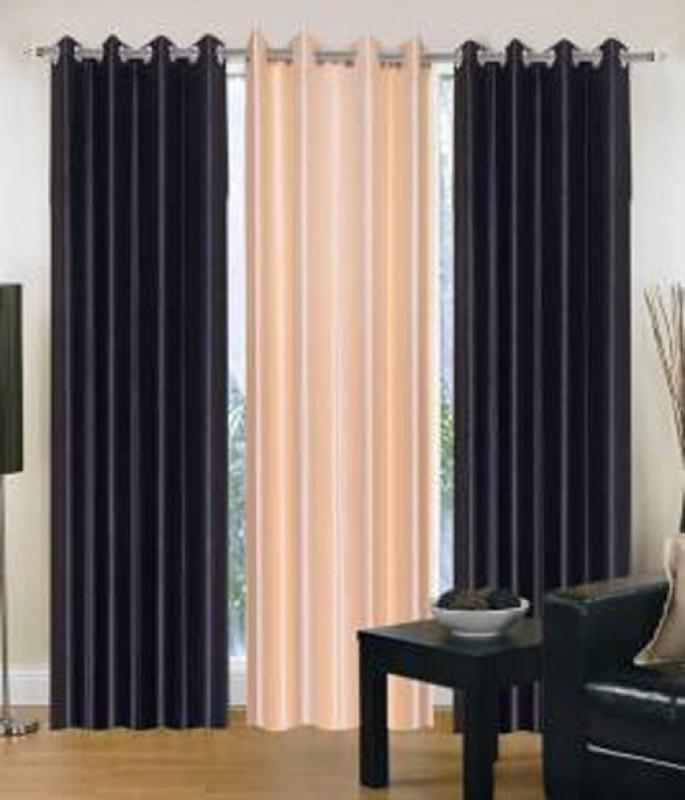 iDOLESHOP 213.5 cm (7 ft) Polyester Door Curtain (Pack Of 3)(Solid, Black, Beige)
