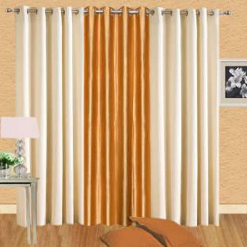 IDOLESHOP 274.5 cm (9 ft) Polyester Long Door Curtain (Pack Of 3)(Solid, Gold, Beige)