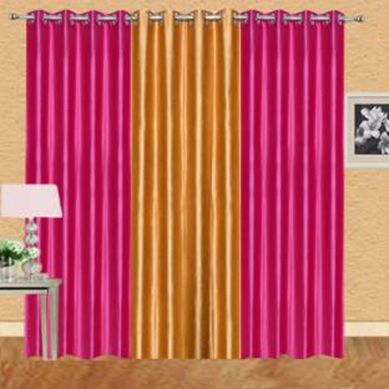 iDOLESHOP 274.5 cm (9 ft) Polyester Long Door Curtain (Pack Of 3)(Solid, Gold, Pink)