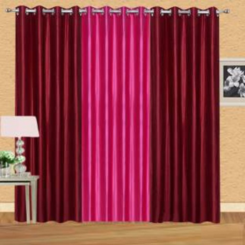 iDOLESHOP 274.5 cm (9 ft) Polyester Long Door Curtain (Pack Of 3)(Solid, Maroon, Pink)