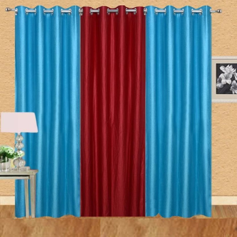 IDOLESHOP 213.5 cm (7 ft) Polyester Door Curtain (Pack Of 3)(Solid, Red, Blue)