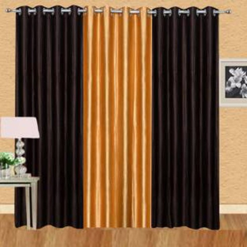 iDOLESHOP 274.5 cm (9 ft) Polyester Long Door Curtain (Pack Of 3)(Solid, Gold, Brown)