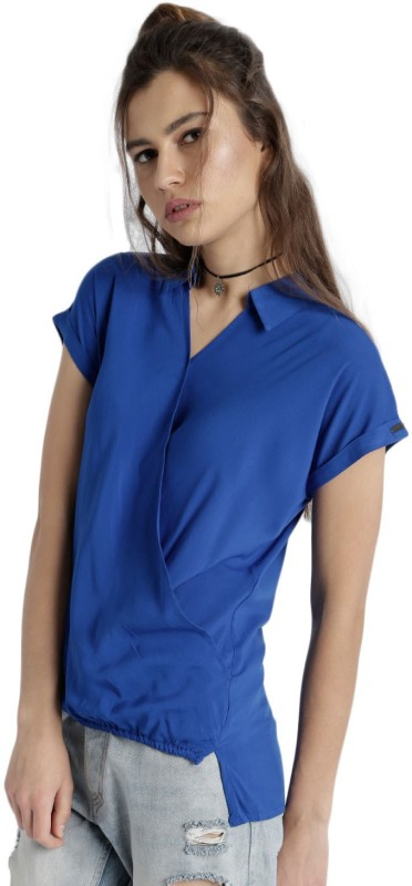 Roadster Casual Short Sleeve Solid Womens Blue Top