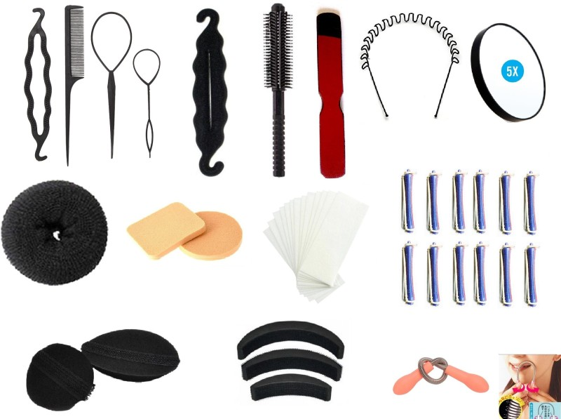 Out Of Box Super Combo Velcro Bumpits Topsy Maker With Hair Donut 2 Pieces Puff Sponge 1 Round Comb & 50 Wax Strips Wood Knife 12pcs perming roller 5x mirror hair epilator spring it with zic-zag hair waived band(Set of 22)