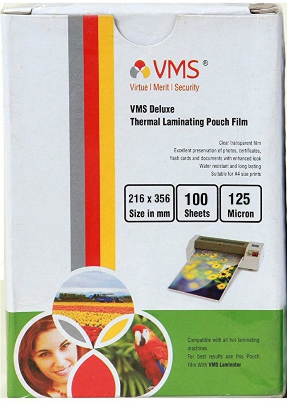 VMS Deluxe Thermal Lamination Pouch 216x356 125 MIC (100 Sheet) A4 Laminating Sheet(125 mil Pack of 1)