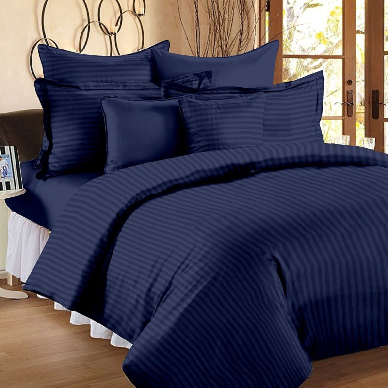 Linenwalas Striped Single Quilt, Comforter Prussian Blue(1 Duvet with duvet cover)