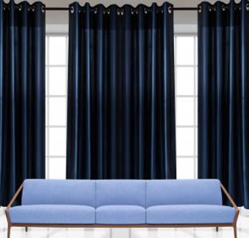 IDOLESHOP 213.5 cm (7 ft) Polyester Door Curtain (Pack Of 3)(Solid, Dark Blue)