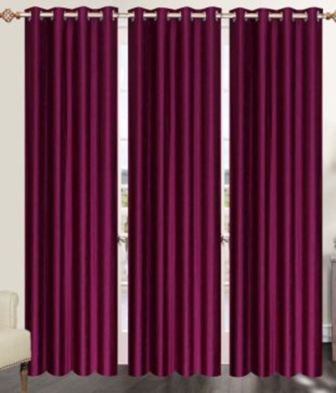IDOLESHOP 213.5 cm (7 ft) Polyester Door Curtain (Pack Of 3)(Solid, Purple)