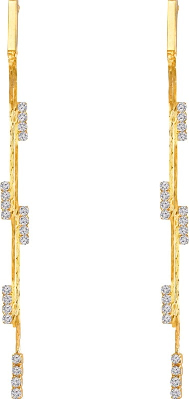 Sansar India Trendy White Rhinestone Golden Alloy Drops & Danglers