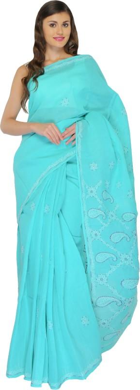BDS Chikan Embroidered Lucknow Chikankari Cotton Saree(Green)