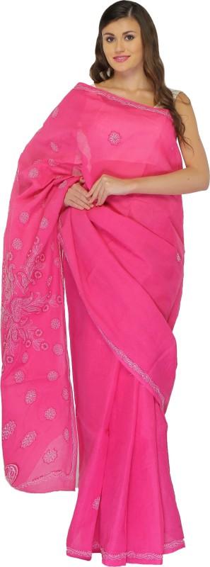 BDS Chikan Embroidered Lucknow Chikankari Cotton Saree(Pink)