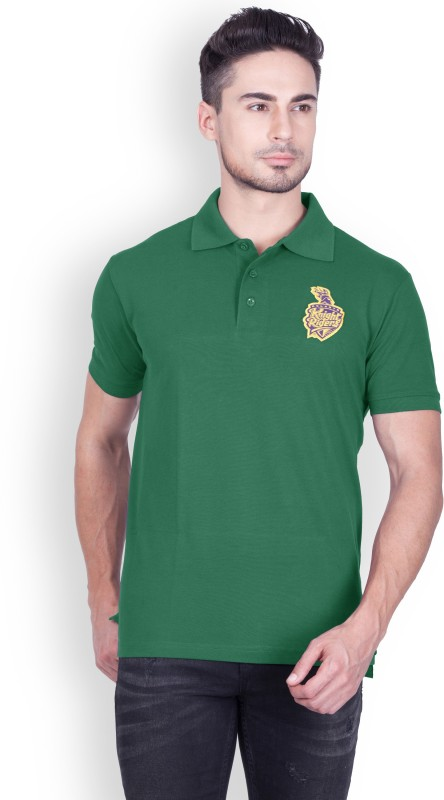 Kolkata Knight Riders Solid Men's Polo Neck Dark Green T-Shirt