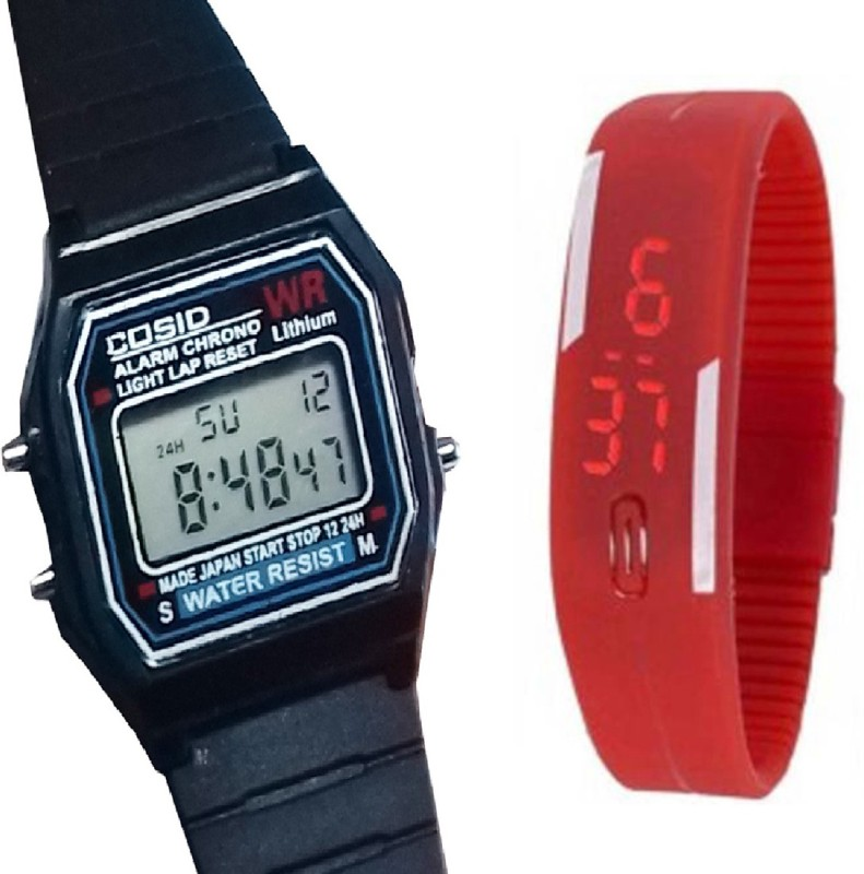 Fashion Gateway Digital Sports Watch with Timer, Stop Watch, Light, second and minute Count for Boys and Girls Black::Red Digital Watch - For Boys & Girls