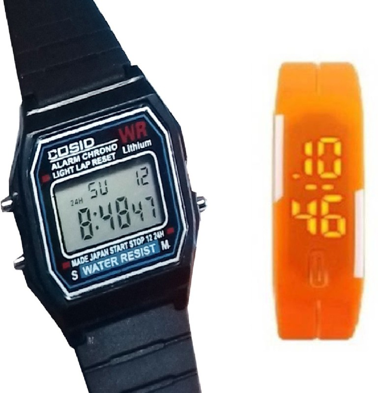 Fashion Gateway Digital Sports Watch with Timer, Stop Watch, Light, second and minute Count for Boys and Girls Black::Orange Digital Watch - For Boys & Girls