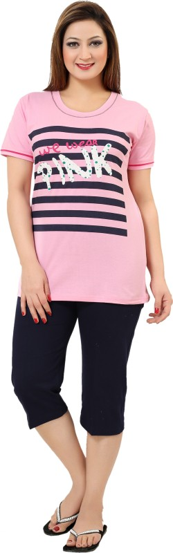 seemee Women Printed Pink Top & Capri Set