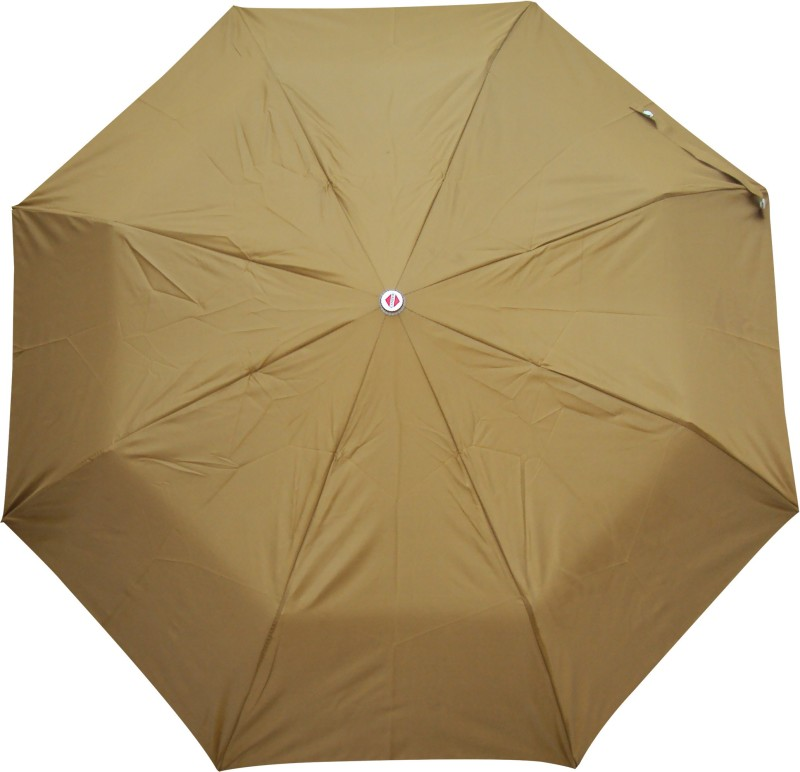 Asera 3 Fold Manual Open Plain Umbrella(Brown)