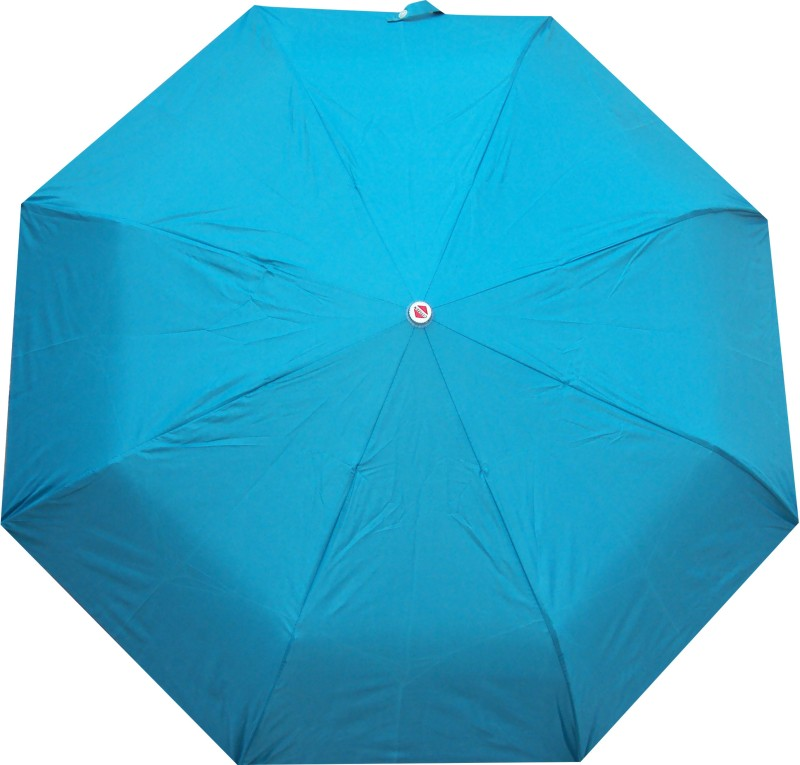 Asera 3 Fold Manual Open Plain Umbrella(Blue)