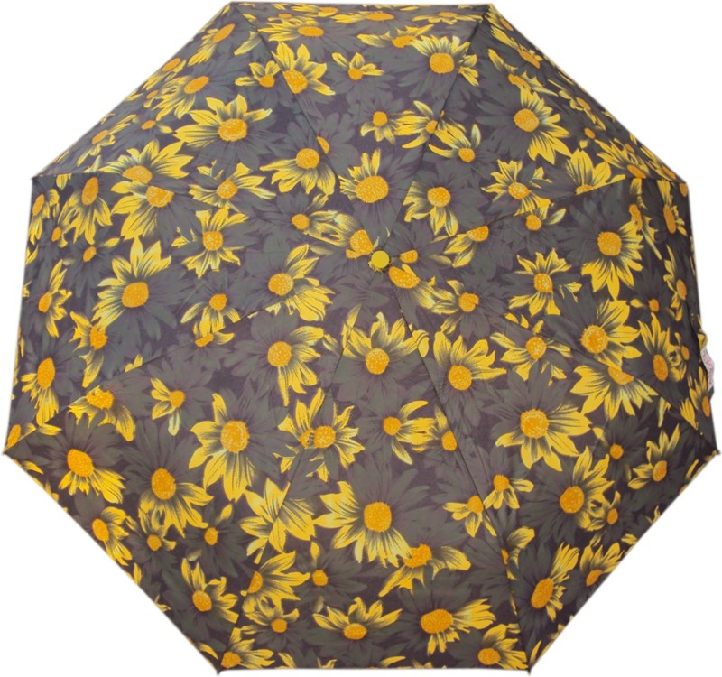 Asera 3 Fold Manual Open Umbrella Umbrella(Yellow, Grey)