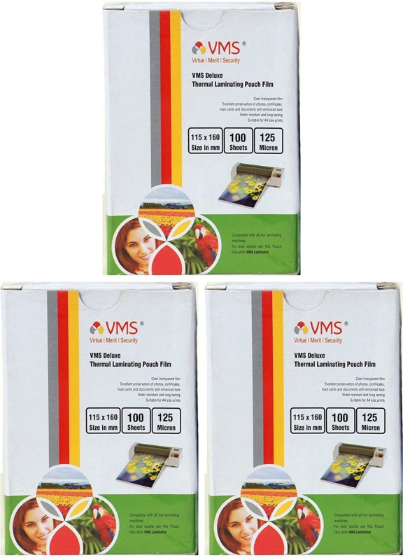 VMS Deluxe Thermal Lamination Pouch 115x160 125 MIC Set of 3 (300 Sheet) Laminating Sheet(125 mil Pack of 3)