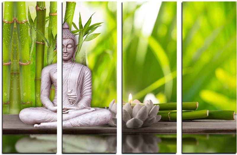 eCraftIndia 4 Panel Meditating Buddha Canvas 24 inch x 39 inch Painting