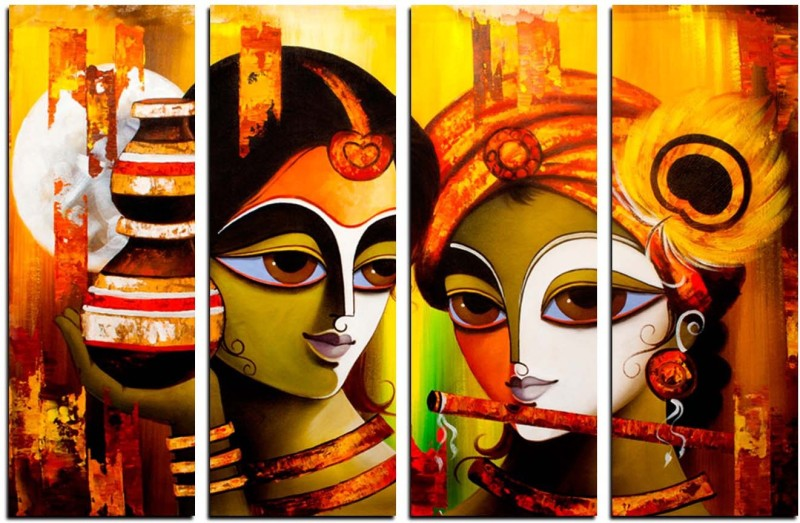 eCraftIndia 4 Panel Radha Krishna Canvas 24 inch x 39 inch Painting