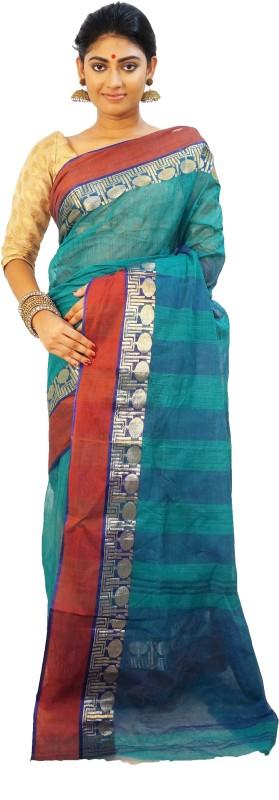 Subhadra Woven Tant Handloom Cotton Saree(Green)