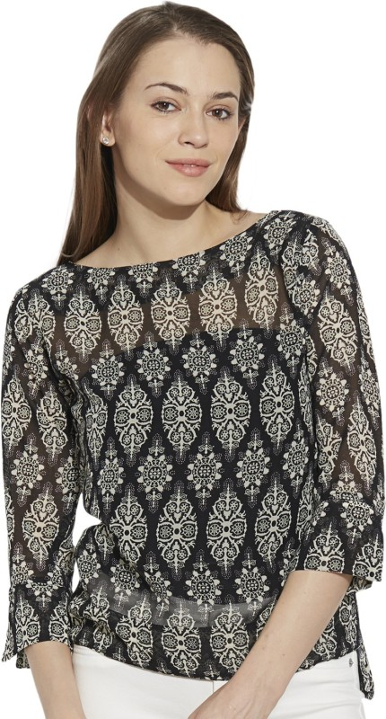 Viro Casual 3/4 Sleeve Paisley Women Black Top