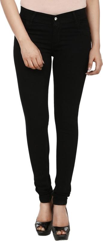 Ico Blue Star Dark Black Slim Women Black Jeans