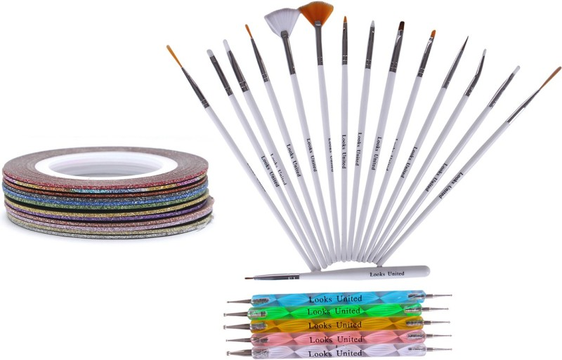 Looks United 15 Nail Art Brushes, 5 Dotting Tools, 5 Striping Tape Rolls(Multi)