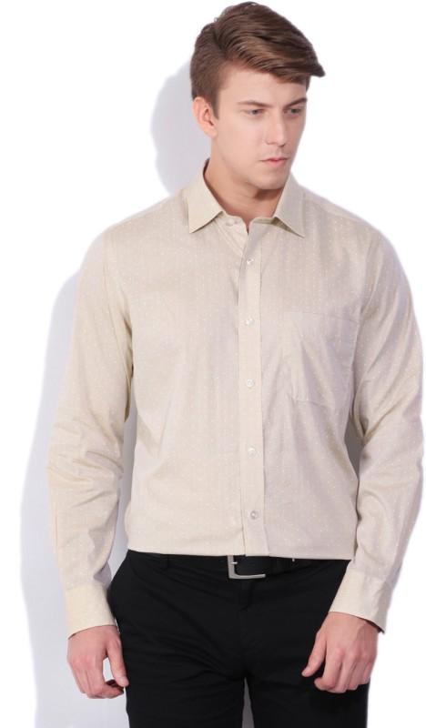 Arrow Men Printed Formal Beige Shirt