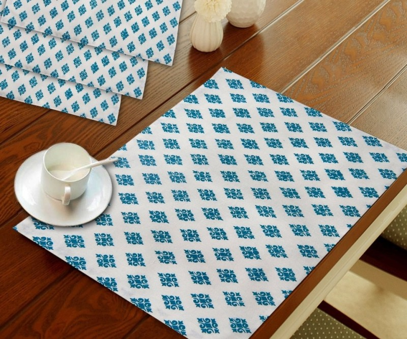 URBAN-TRENDZ Rectangular Pack of 4 Table Placemat(Light Green, Cotton)