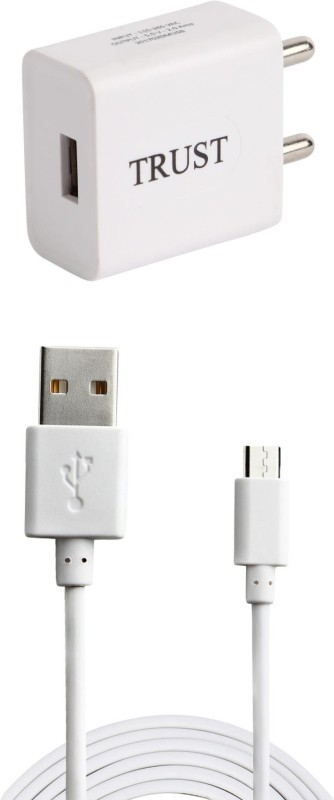Trust 2A. Fast Charger with Charge & Sync USB Cable For Xiomi Rdmi Note 4 Mobile Charger(White)