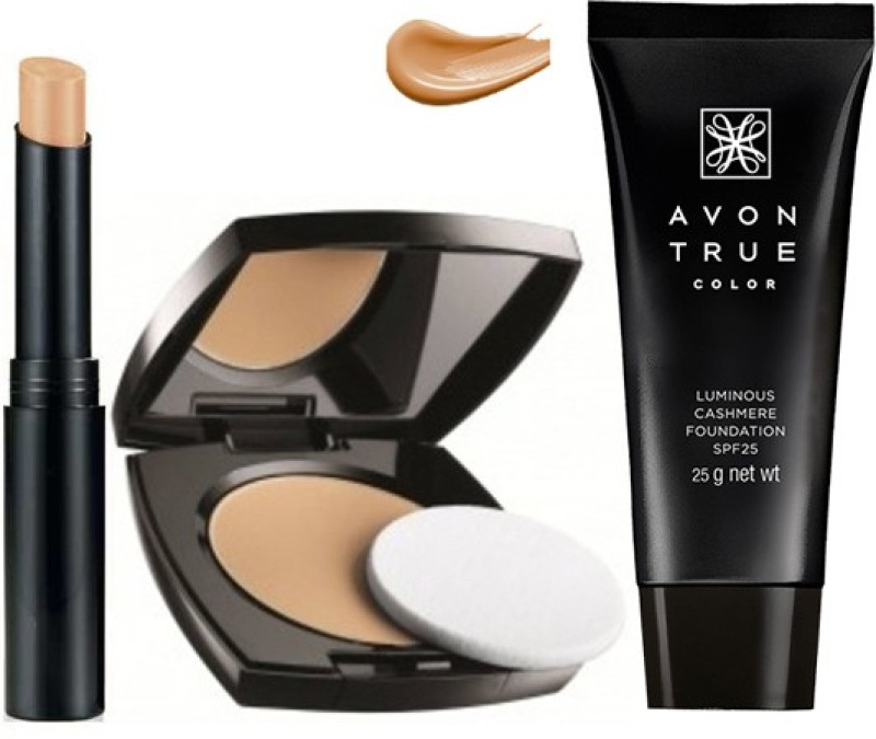 Avon Anew True Color Pressed Powder + Cashmere Foundation + Concealer Stick (Light)(Set of 3)