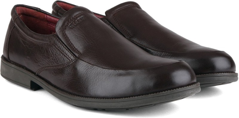 Woods Genuine Leather by Woodland Slip On Shoes For Men(Brown)