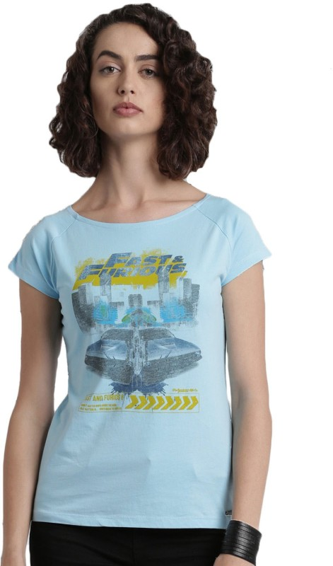 Roadster Printed Womens Round Neck Blue T-Shirt