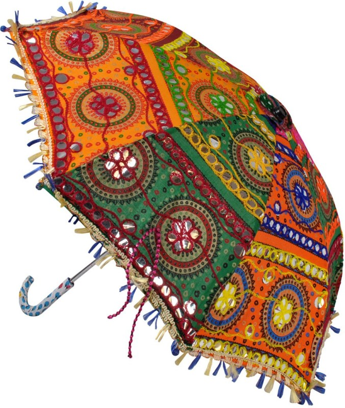 Lal Haveli Cotton Embroidered Work Kids Size Umbrella(Multicolor)