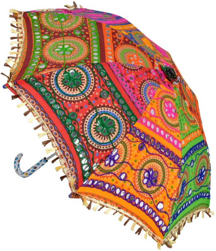 Lal Haveli Party Wedding Decoration Embroidery Design Women Umbrella(Multicolor)