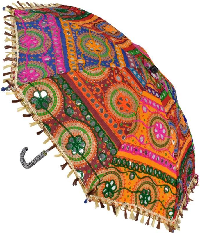 Lal Haveli Wedding Decoration Cotton Embroidered Women Umbrella(Multicolor)