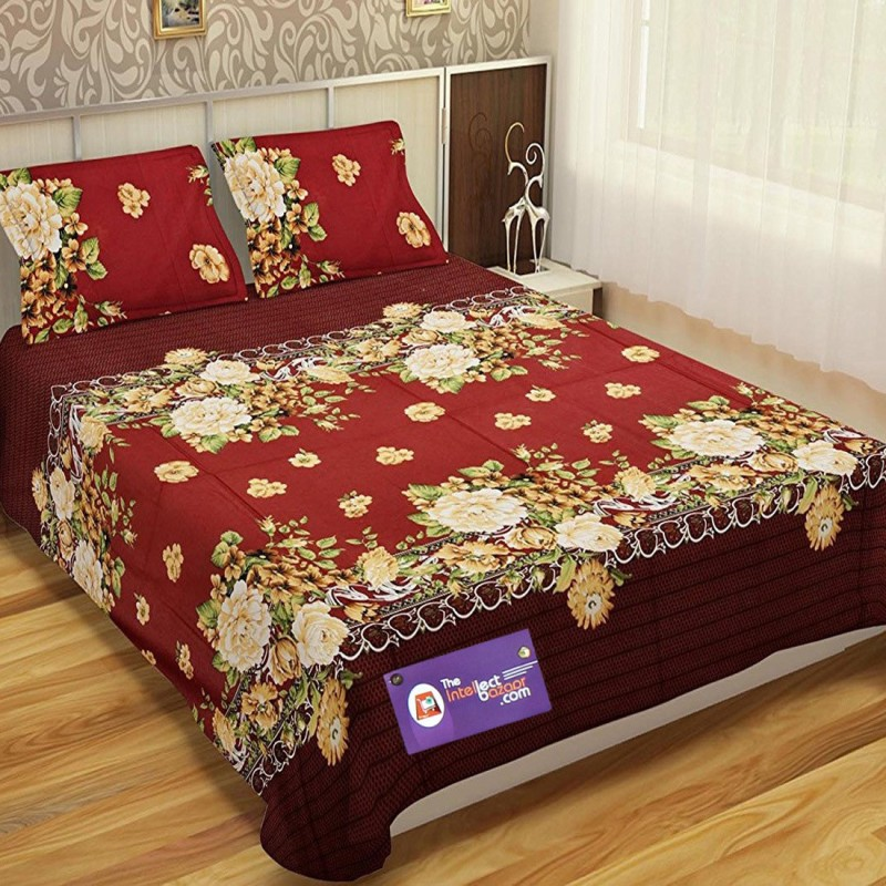 The Intellect Bazaar 150 TC Cotton Double King Floral Bedsheet(Pack of 1, Multicolor)