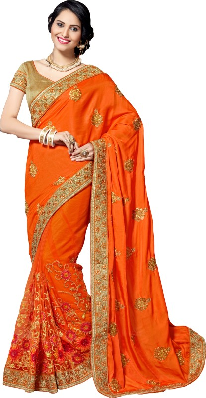 M.S.Retail Embroidered Bollywood Silk, Crepe, Net Saree(Orange)